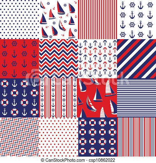 Seamless pattern, nautical elements - csp10862022