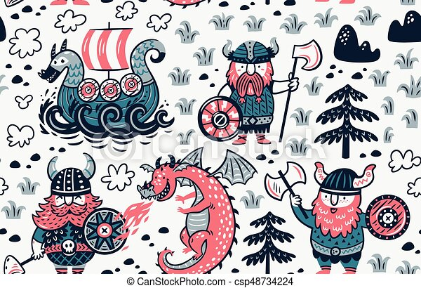 Seamless pattern with vikings for design fabric, backgrounds, wrapping paper - csp48734224