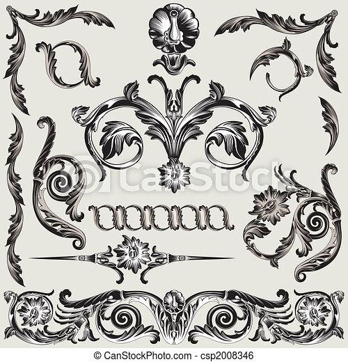 Set Of Classic Floral Decoration Elements - csp2008346