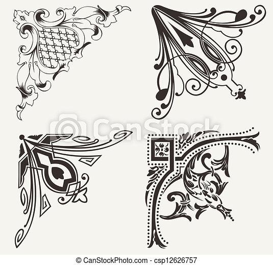 Set Of Four Hogh Ornate Corners. Elements Of Design. - csp12626757