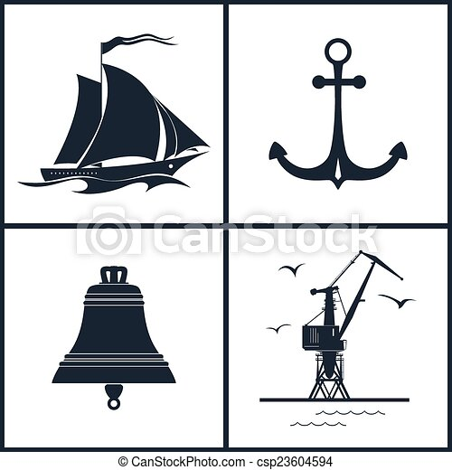 Set of maritime icons, vector illustration - csp23604594