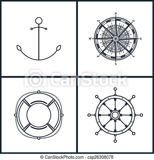 Set of maritime icons, vector - csp26308078