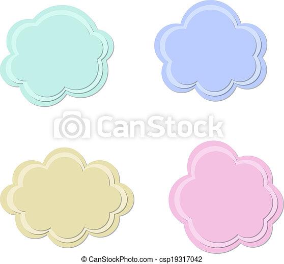 Set of textured vector clouds - csp19317042