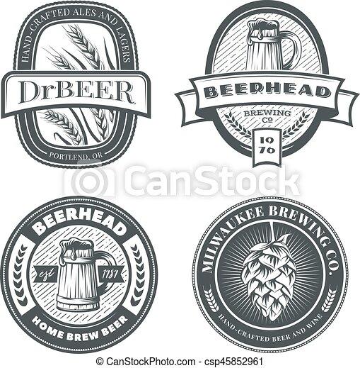 Set of vintage beer emblems, labels and badges. - csp45852961