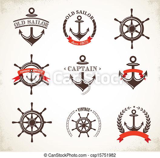Set of vintage nautical icons and symbols - csp15751982