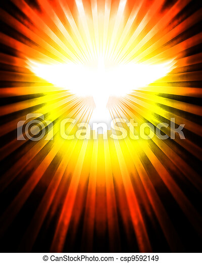 shining dove with rays - csp9592149