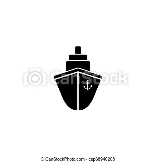 Ship icon flat. Black pictogram on grey background. Vector illustration - csp68940208