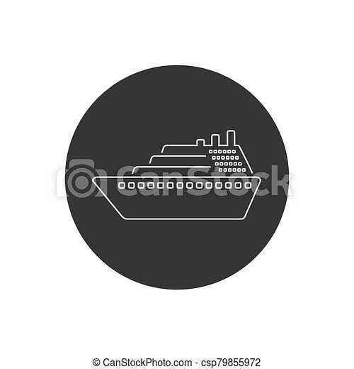 Ship line icon vector. Cruise ship symbol icon illustration - csp79855972