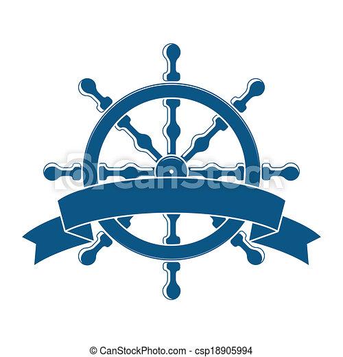 Ship Wheel With Banner. Nautical Emblem. Vector - csp18905994