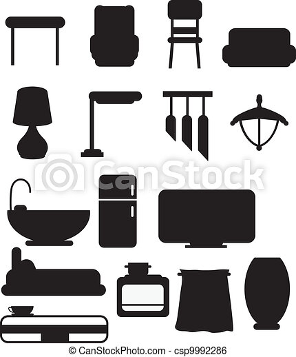 silhouettes furniture object - csp9992286