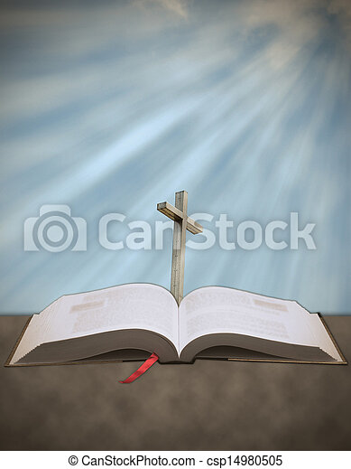 Sun rays shining down on cross with bible - csp14980505