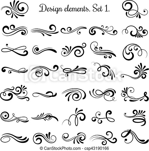 Swirly line curl patterns isolated on white background. Vector flourish vintage embellishments for greeting cards - csp43190166