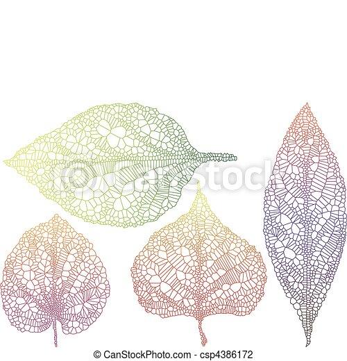 textured autumn leaves - csp4386172