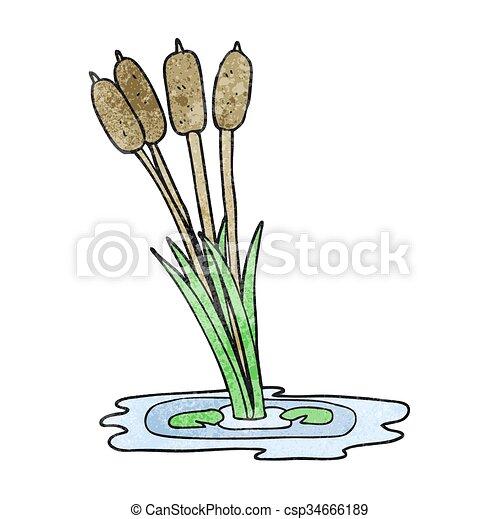 textured cartoon reeds - csp34666189