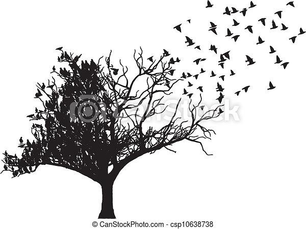 tree bird art vector - csp10638738
