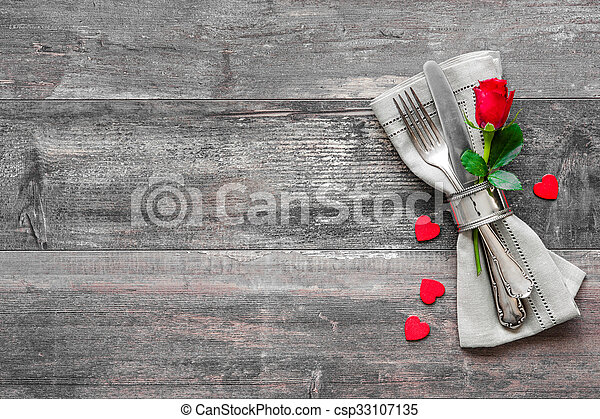 Valentines day table place setting - csp33107135
