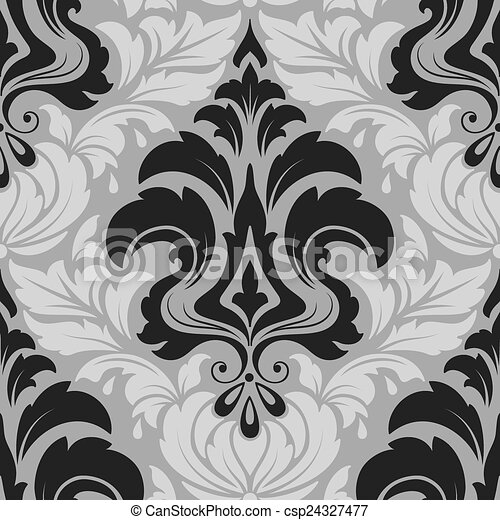 Vector damask seamless pattern element. Elegant luxury texture for wallpapers, backgrounds and page fill. - csp24327477