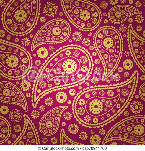 vector illustration of colored paisley seamless background - csp78941700