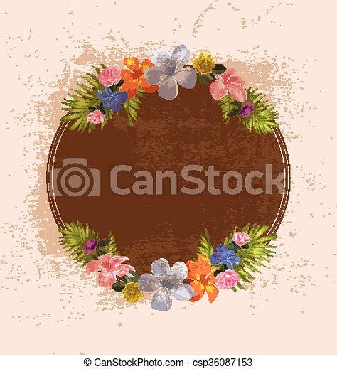 vector illustration of vintage floral background - csp36087153