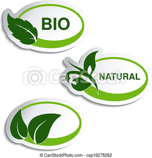 Vector natural symbols - stickers with leaf, plant - csp16278262