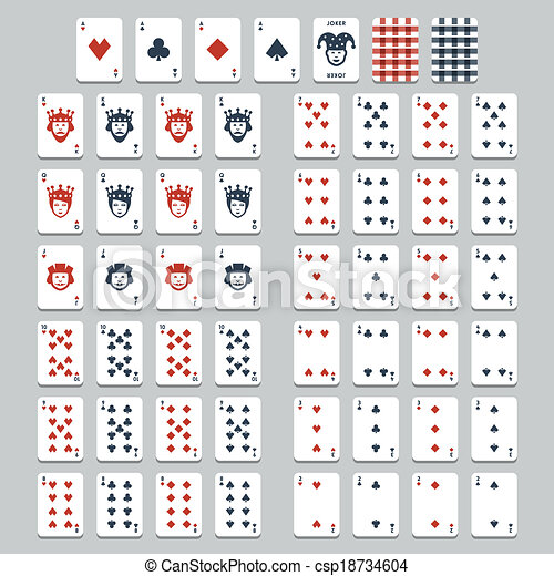 Vector playing cards, flat style - csp18734604