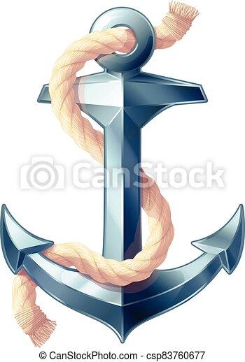 vector sea maritime icon Anchor - csp83760677