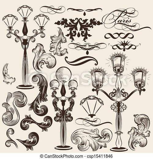 Vector set of calligraphic decorati - csp15411846