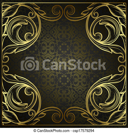 Vector vintage border frame engraving with retro ornament pattern in antique rococo style decorative design - csp17579294