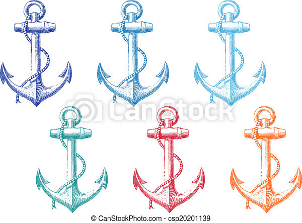 vintage anchor with rope, vector - csp20201139