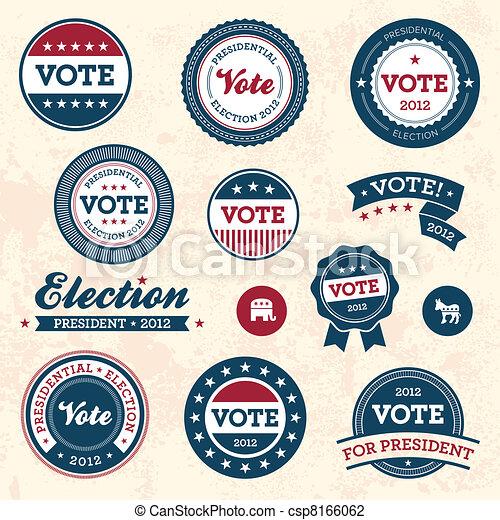 Vintage election badges - csp8166062