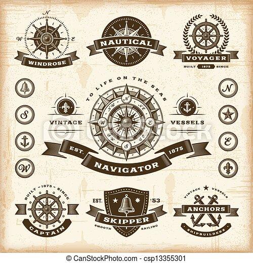 Vintage nautical labels set - csp13355301