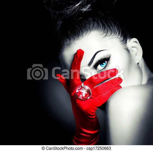 Vintage Style Mysterious Woman Wearing Red Glamour Gloves - csp17250663
