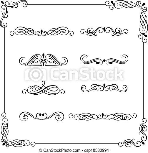 Vintage vector frame, border, divider, corner - csp18530994