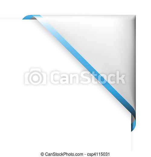 White corner ribbon with blue thin border - csp4115031