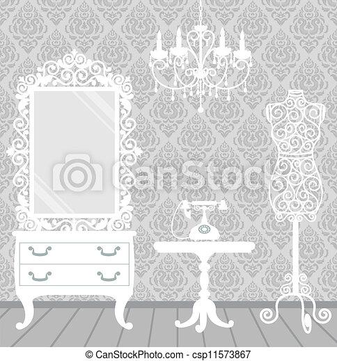 Woman room in vintage, boudoir style - csp11573867