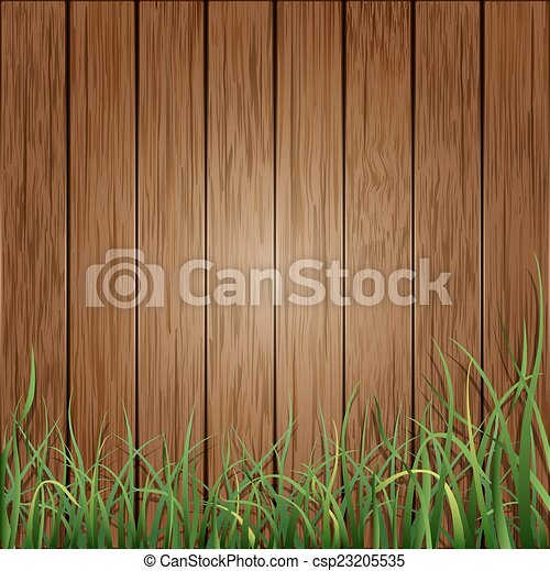 Wood planks and green grass background - csp23205535